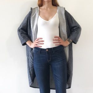 Sweaters - Gray & white thick soft hooded kimono